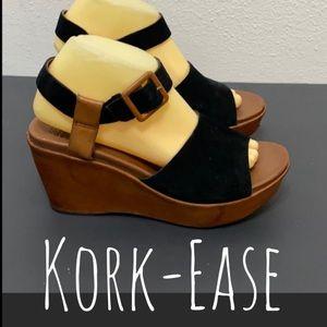 Kork-Ease leather platform wedges sandals Sz 9